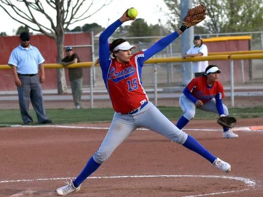 Las Cruces High pitcher Anisah Triste took the circle in the first game of a double header against Alamogordo High School Tuesday night at the Field of Dreams Softball Complex.  For a game report from Tuesday, click on this story at lcsun-news.com.