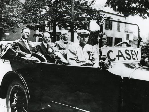 Dan Casey riding in the Casey day parade in 1915.