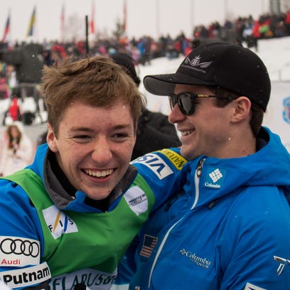 Chris Lillis celebrates his victory with teammate Mac