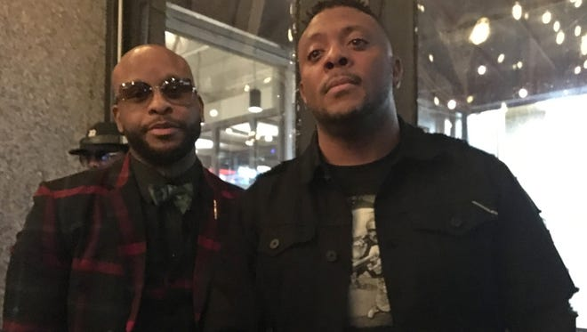 "Royce da 5'9"" and Denaun Porter at Royce's ""Book of Ryan"" listening party at Central Kitchen + Bar in Detroit on Saturday, April 28, 2018."