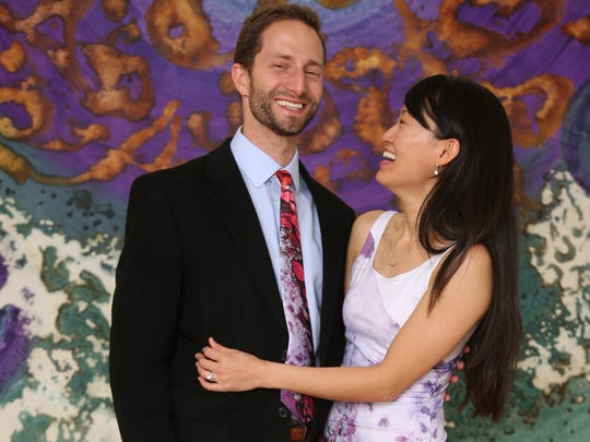 Bryan and Stephanie Lusk model tie and dress with the