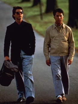"Tom Cruise (left) starred as Charlie Babbitt and Dustin Hoffman (right) starred as Raymond Babbitt in United Artists Pictures' ""Rain Man."""