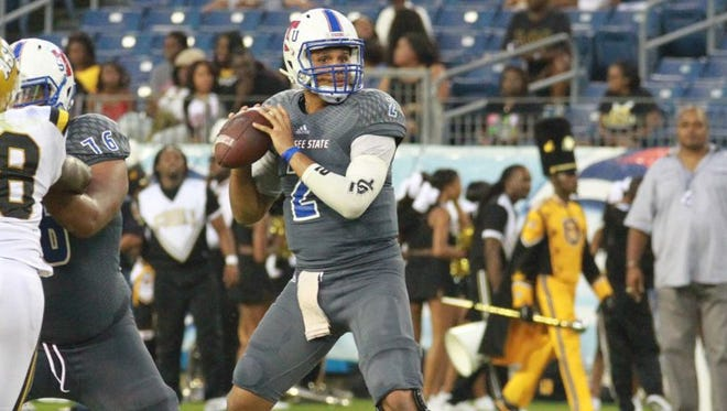Quarterback O'Shay Ackerman-Carter has thrown one interception in two games this season for TSU's only turnover.