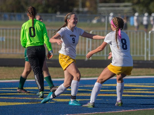 Toms River North's Paige Farley celebrates after scoring