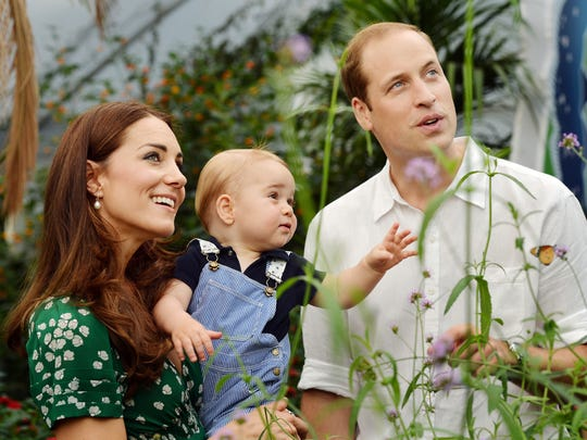 Britain's Prince William and Kate Duchess of Cambridge and the Prince George during a visit to the Sensational Butterflies exhibition at the Natural History Museum, London.