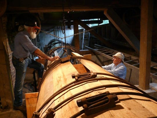 Hiram Allen & Duncan McLaren working on the penstock at Bens Mill 2009