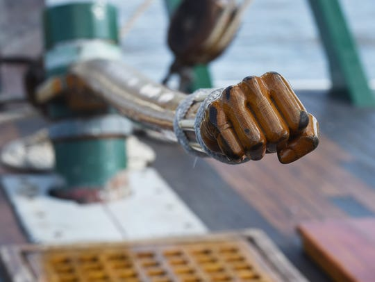 A view of the tiller for the sloop Clearwater, pictured