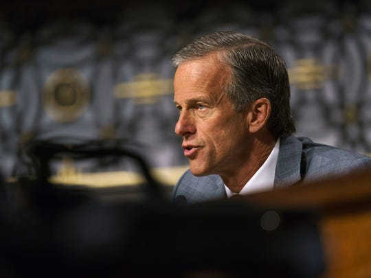 Sen. John Thune, R-N.D., during a Capitol Hill hearing in June.