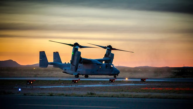 A U.S. Marine Corps Osprey, one of up to 8 Ospreys from from Marine Corps Air Station Yuma, in Yuma, Arizona, lands at Las Cruces Airport, April 6, 2016. The Ospreys were there to participate in a training exercise which involved being refueled on the ground by a C-130 tanker plane.
