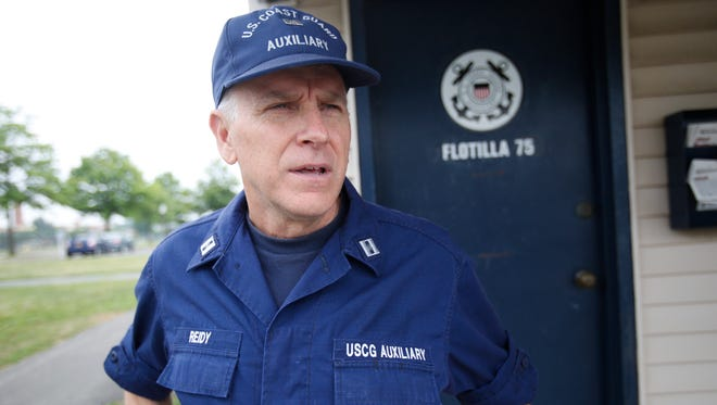 Coast Guard Auxiliary Cmdr. Mike Reidy at the station at Harbor Island Park in Mamaroneck.