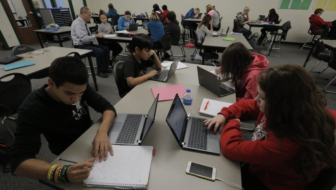 Berlin Middle School students work on their individualized instruction during class in this 2016 file photo.