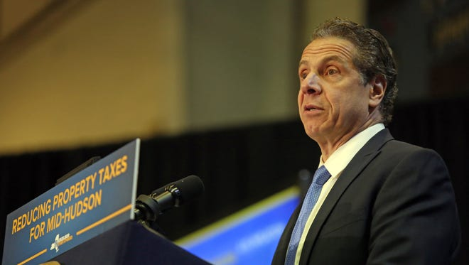 Governor Andrew Cuomo talks about reducing property taxes for Mid-Hudson region during a press conference at Haverstraw Community Center on Feb. 23, 2017.