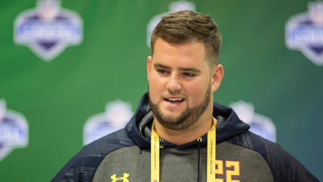 Mar 2, 2017; Indianapolis, IN, USA;  Vanderbilt offensive lineman Will Holden speaks to the media during the 2017 combine at Indiana Convention Center.