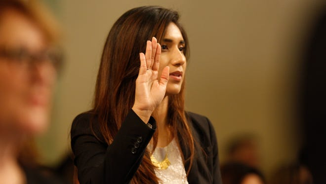 Assemblywoman Sabrina Cervantes at her swearing-in ceremony a year ago.