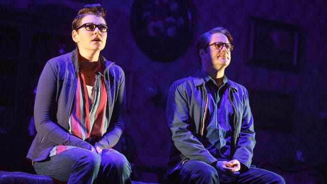 Kate Shindle as 'Alison' and Robert Petkoff as 'Bruce' in Fun Home.
