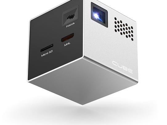The 2-inch Rif6 Cube is a portable projector that projects