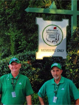 Kevin Dawson, left, and Jim Cooke, both Brevard residents, serve as spotters for The Masters' coverage on CBS.