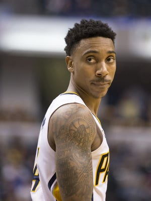 Jeff Teague of Indiana, Atlanta Hawks at Indiana Pacers, Bankers Life Fieldhouse, Indianapolis, Wednesday, April 10, 2017. Indiana won 104-86 to make the playoffs.