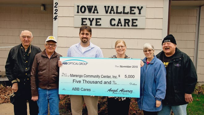 ABB Optical Group's ABB Cares provided the Marengo Community Center with a $5,000 grant last month to use toward Senior Dining and other purposes. From left: Bill Danskin, Ed Novak, Dr. Patrick Fleming, Julie Alexander, Deb Davidson and Sam Hunt.