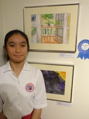 Santa Barbara Catholic School's Audrey Edusada, 8th grade, is one of the art exhibitors at the 20th Isla Art-a-thon.  Her artwork, Front Porch, won 1st Place in the Middle School Division.