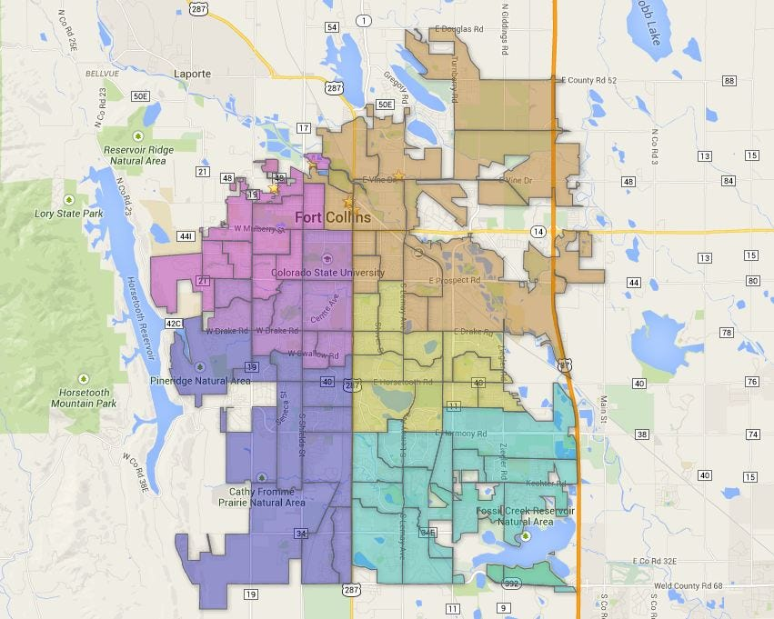 Map Fort Collins Council Districts