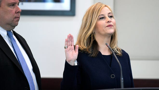 Nashville Mayor Megan Barry pleads guilty Tuesday, March 6, 2018, to felony theft of property over $10,000 related to her affair with former police bodyguard Sgt. Rob Forrest at the Justice A. A. Birch Building in Nashville.