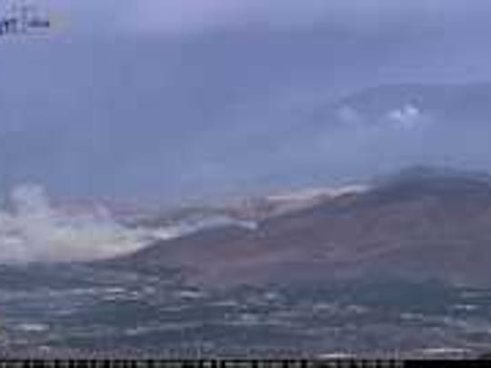 A fire burning in Carson City as seen from the McClellan Peak  Nevada Seismological Laboratory camera