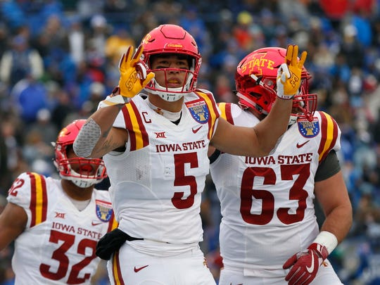 Iowa State Cyclones wide receiver Allen Lazard (5) celebrates his go ahead touchdown during the second half of the AutoZone Liberty Bowl Saturday, Dec. 30, 2017, in Memphis, Tennessee. ISU defeated Memphis 21-20.