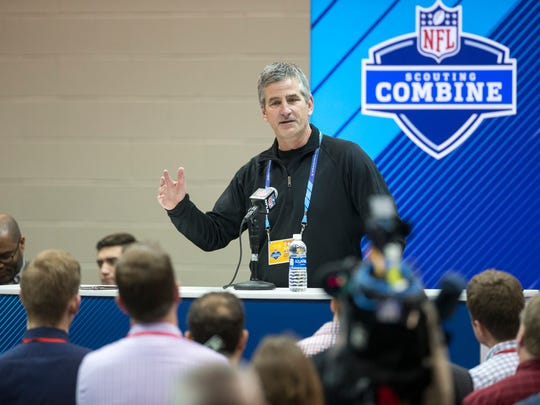 Frank Reich, new Head Coach of the Indianapolis Colts, talks with the press at the day's NFL Scouting Combine, in preparation for the year's draft, Wednesday, Feb. 28, 2018.