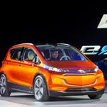 Tthe Chevrolet Bolt EV electric concept vehicle is unveiled during the North American International Auto Show, in Detroit in 2015.