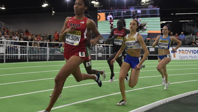 Ajee Wilson of Neptune competes in a women's 800 meter heat at the IAAF World Indoor Championships in Portland, Oregon on Saturday.