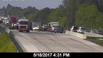 Traffic was blocked on southbound Interstate 95 near Eau Gallie Boulevard.