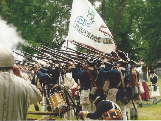 The Illinois Regiment of Virginia(George Rogers Clark's Troops) in battle.