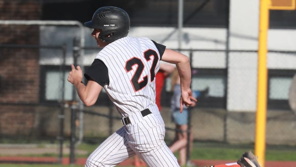 Mamaroneck's Shawn Gacio (22) rounds the bases during Class AA first round baseball game at Mamaroneck High School on May 21, 2018. Mamaroneck upset No. 1 Ketcham on May 22, 2018.