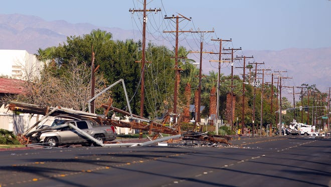 Ramon Rd. between Farrell and Sunrise is shut down after a truck crashed into a power pole at the intersection of Cerritos and Ramon Rd in Palm Springs in Saturday.
