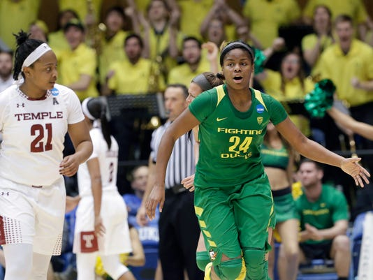 Oregon's Ruthy Hebard (24) reacts following a basket while Temple's Khadijah Berger (21) looks on during the second half of a first-round game in the NCAA women's college basketball tournament in Durham, N.C., Saturday, March 18, 2017. Oregon won 71-70. (AP Photo/Gerry Broome)
