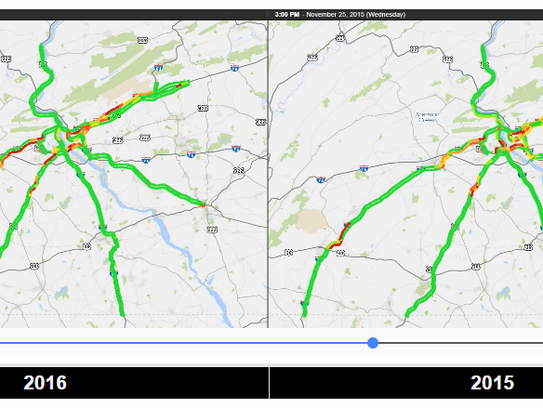 """The """"Historic Holiday Traffic"""" page at 511PA compares traffic issues between 2015 and 2016 to alert drivers of past problem areas."""
