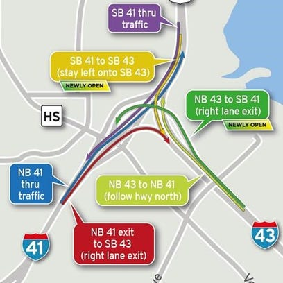 Map of the reconstructed Interstate 41-43 interchange.