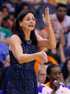 Phoenix Mercury coach Sandy Brondello signals to her team during a game against the San Antonio Stars during their 85-78 win onTuesday, June 30. 2015  in Phoenix.