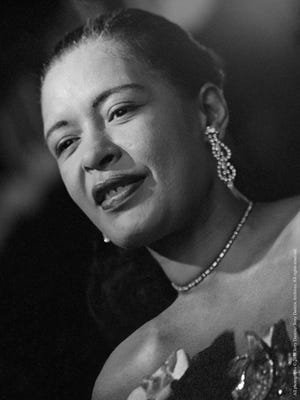 Billie Holiday on stage at Sugar Hill in Newark, N.J., in April 1957.