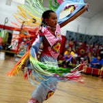Triphina Ben competes in gourd dancing during the Petal-Southern Miss Powwow held in April in the Petal Middle School gymnasium.