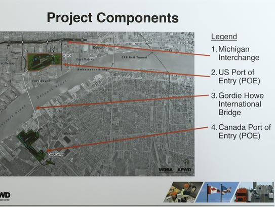 A map shows the proposed location of the Gordie Howe