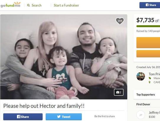 Fund-raising page shows Hector Miguel Garnica, Maria