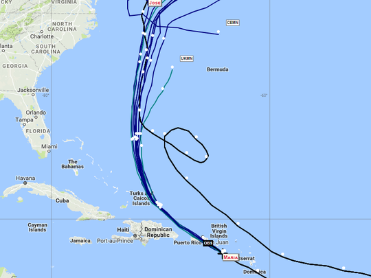 Projected path of Hurricane Maria
