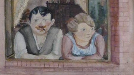 """A 1923 piece by Wilhelm Lachnit titled 'Man and Woman in the Window."""""""
