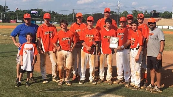 The Swarm 16 and under baseball team, which includes players from Buncombe, Haywood, Macon and Transylvania counties, won the Impact Baseball Midsummer Championship tournament on Monday.