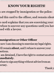 Immigration rights card.