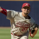 Vasha Hunt / AL.com via APAlabama pitcher Nick Eicholtz throws in the first inning against Kentucky in the first round of the SEC Tournament on Tuesday. Alabama pitcher Nick Eicholtz (29) pitches in the first inning against Kentucky in the first round of the Southeastern Conference NCAA college baseball tournament in Hoover, Ala., Tuesday, May 24, 2016. (Vasha Hunt/AL.com via AP) MANDATORY CREDIT