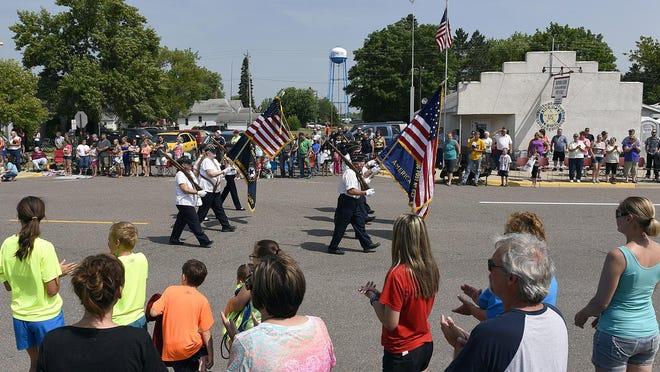 The American Legion color guard led the Bowlus Fun Days parade Sunday through downtown Bowlus.