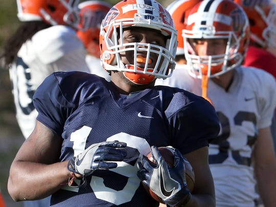 UTEP running back Treyvon Hughes, 19, at Wednesday's spring practice at Glory Field.